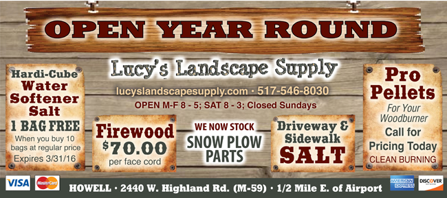 One of the largest selection of landscaping supplies in Livingston County.  Delivery available! Do-It-Yourselfer? Special pricing on Pick Up orders. - Pocket Pleasers Coupon For Lucy's Landscape Supply Coupon.